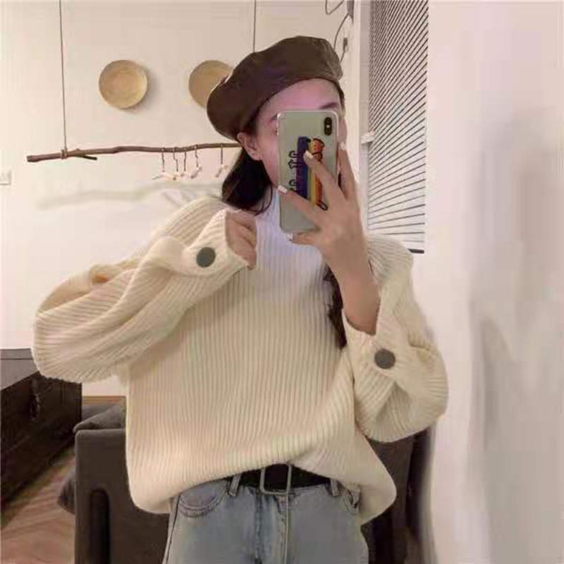 Direcly Casual вязаный свитер Женщины Streetwear с длинным рукавом Loos Pullovers Свободные твердые пальто 2019 осень зима мода женские