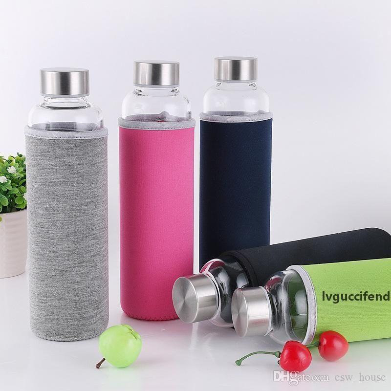 1 UNID LULUHUT VIAJE TRABAJO EMPLEABLE BOTELLA PORTEBLE Nuevo diseño de botella de agua de vidrio Botella transparente para té de agua