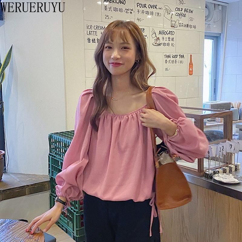 Blusas de mujer camisas werueruyu mujeres punto de manga larga blusa blusa tops rosa blanco