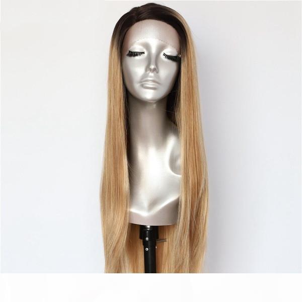 Mão de moda amarrado raízes escuras ombre wigs retos de seda de seda com média parting 180% de densidade glúteis perucas dianteiras de renda sintética para mulheres
