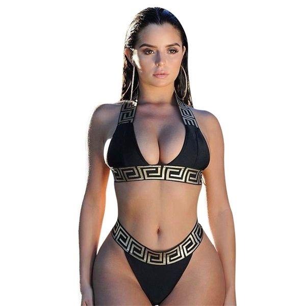 Vendaje traje de baño sexy bikini conjunto mujeres cultivo top bikinis mujer 2019 traje de baño femenino con fusión separada para mujer con traje de baño BIQUEINI Q0105