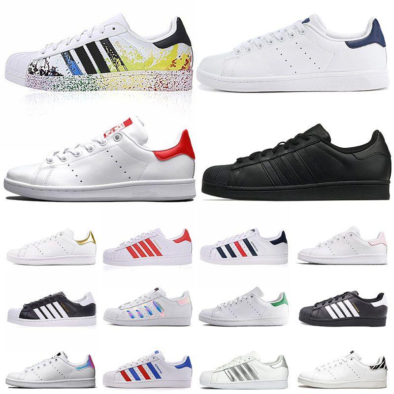 adidas stan smith Classic mujer hombre zapatos casuales superstar shoes sneakers triple white superstars diseñadores negros zapatillas deportivas de cuero dorado