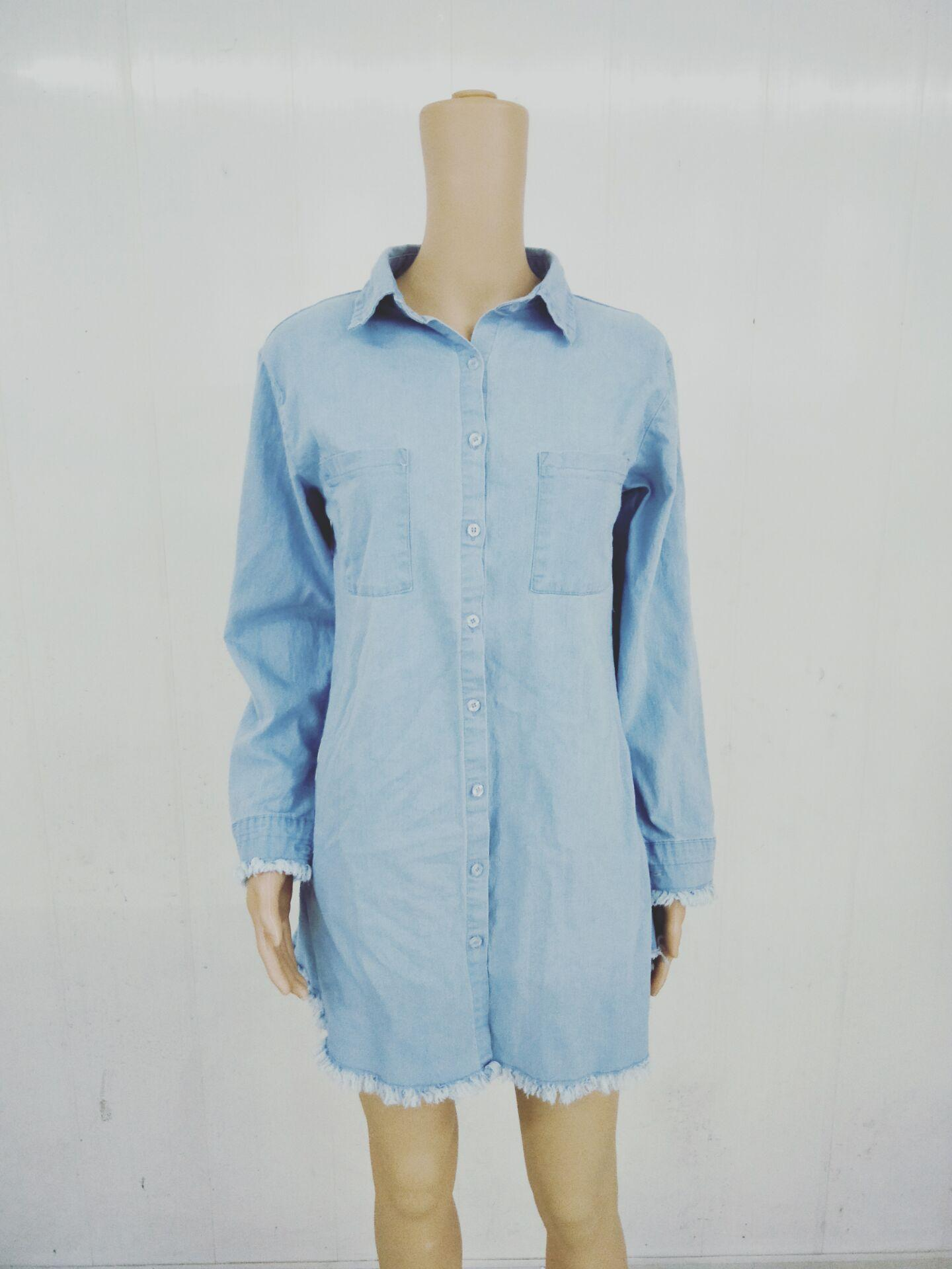 2021 Casual Hi-Lo vestidos das mulheres jeans de verão camisa vestidos sexy borla carrinho vestido de colarinho primavera verão