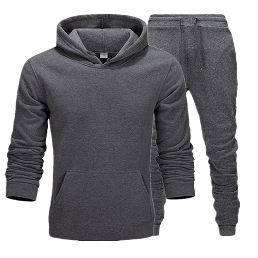 2020 lässig kleidung männer pullover pullover baumwolle männer trainingsanzüge hoodie zwei stücke + hosen sport shirts fall winter spuranzug schwarz