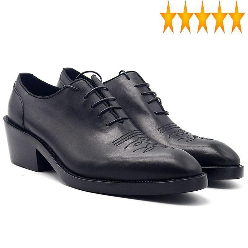 Мужская Англия Стиль 2021 Новая Ручная Настоящая Кожаная Кожа Формальное Платье для Человека Увеличение Мед каблуки Оксфорды Оксфорды Оксфорды Одиночные Обувь