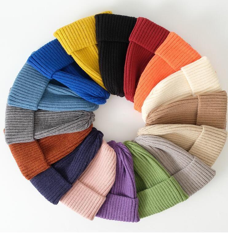 Nouvelle arrivée Hiver Unisexe chapeau tricoté chapeaux coloré épaissir chapeau d'hiver chapeaux doux chaud crullies sonnet pour femme élégant gorras