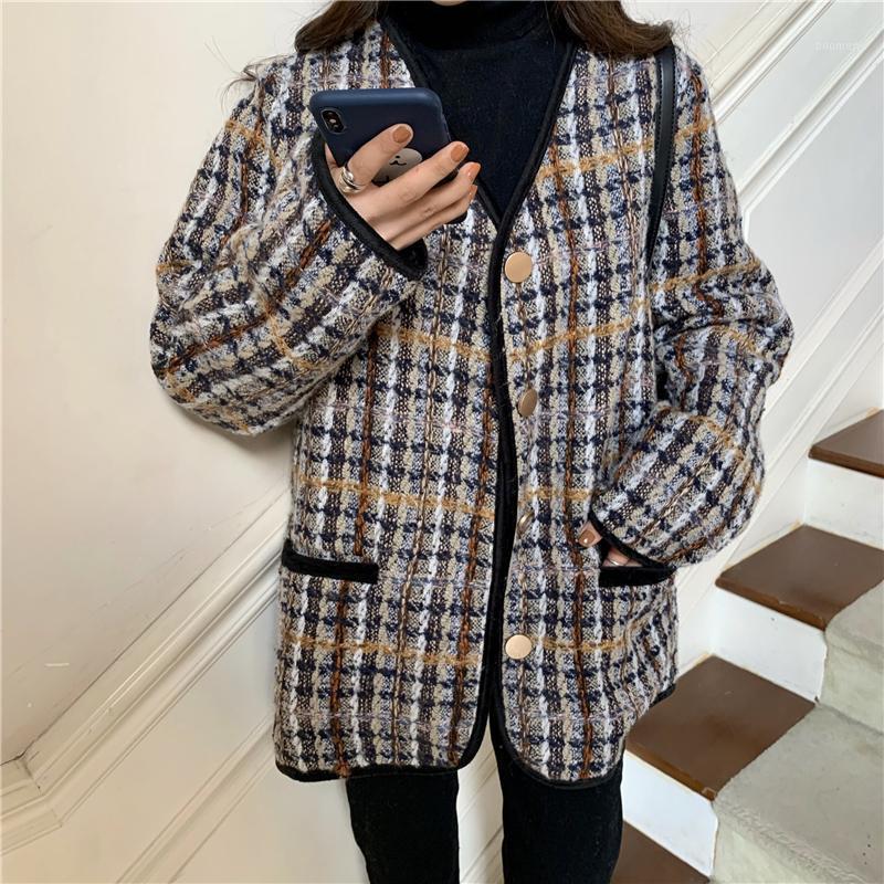 Осень зимний плед Твид Однорассудные кардиганы шерстяной куртки Женщины карманные шерстяные варианты с длинным рукавом Пальто женской одежды1