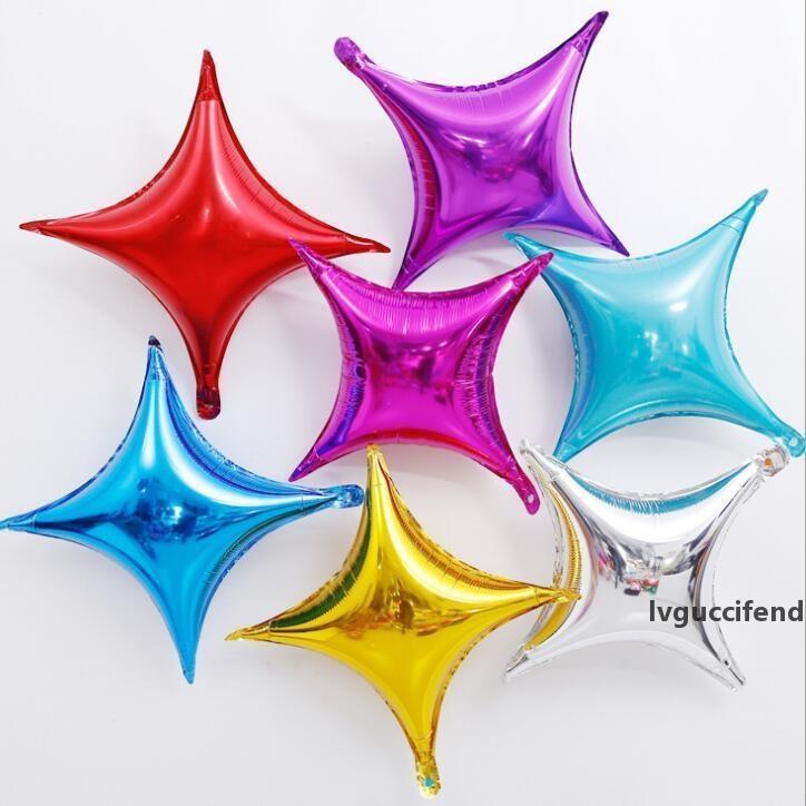 Festa Balão Quatro Pontilhas Star Forma de Alumínio Filme Balão Volor Volor Feriado Casamento Aniversário Decoração da festa WY356