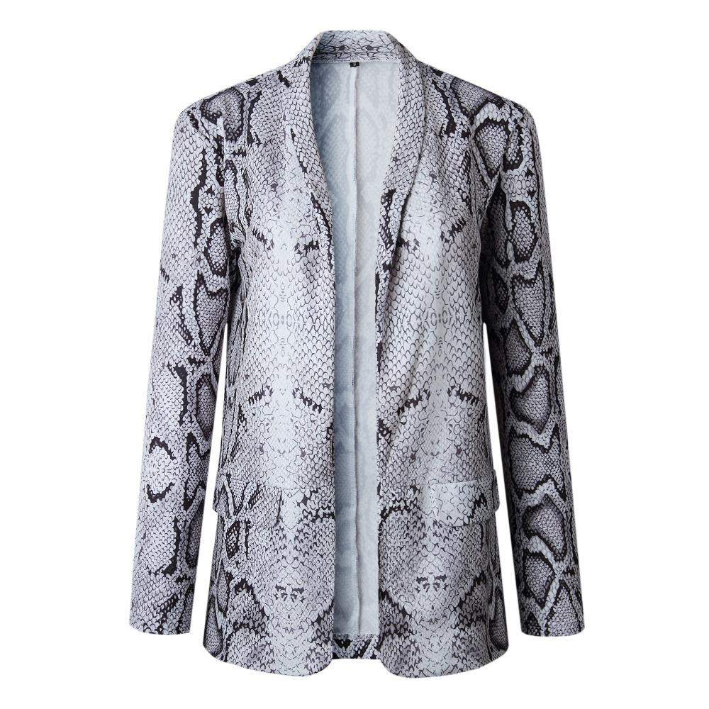 Зогаа женская куртка и пальто леопард сексуальная змея печать с длинным рукавом пальто элегантные женщины повседневная тонкая подходящие куртки updooat z1211