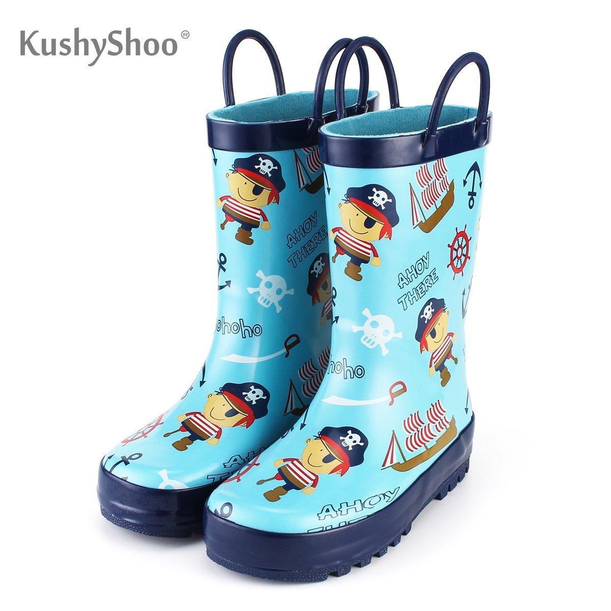 Kushyshoo enfants caoutchouc dessin animé pirate pirate imprimé bambin raides pour garçons bottes de pluie bébé chaussures d'eau