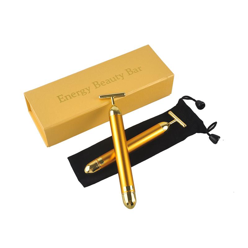 New Energy Beauty Bar 24K Oro Pulso Masajeador Facial Roller Massager Derma Skincare Wrinkle Face Massager With Box 0609005