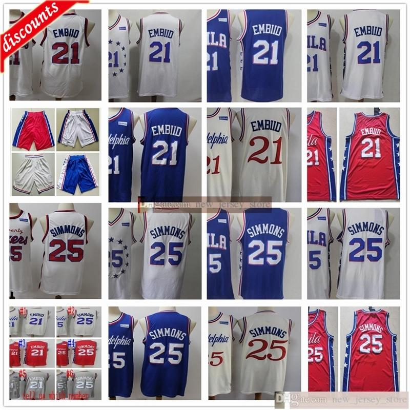 2020 جديد كرة السلة جويل 21 القمصان القمضة رخيصة البيج سيتي بن 25 سيمونز الفانيلة أفضل جودة الأزرق الأحمر الرجل الأبيض السراويل السراويل