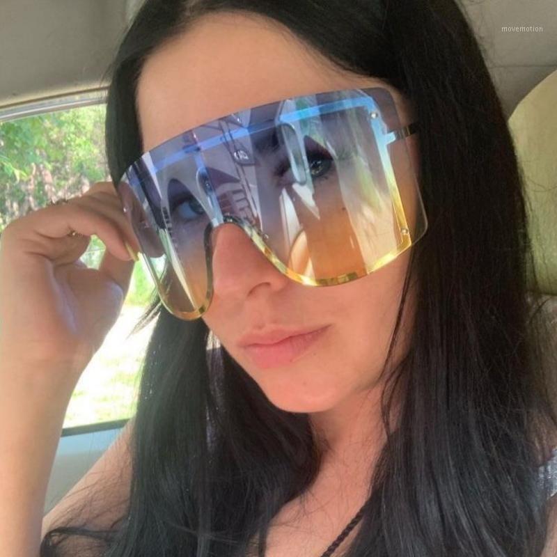 2020 Übergroßere blaue gelbe Gradient Sonnenbrille Frauen Luxulry Marke Designer Rot Randlose Metall Weibliche Sonnenbrille Shades1