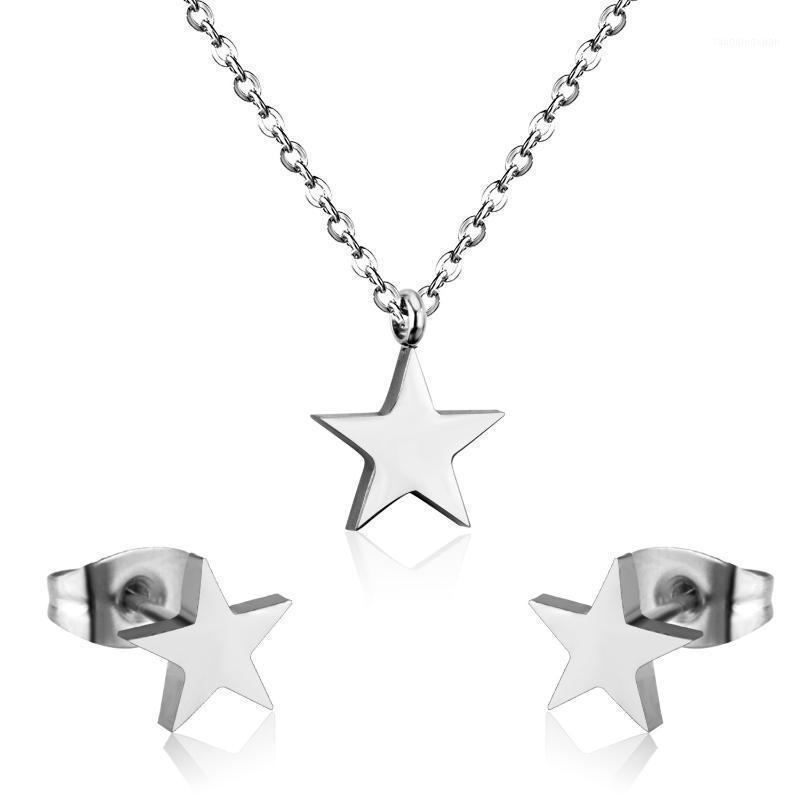 New Fashion Cool Five-Poted Star Pendant Collana Collana Jewlery Set per le donne Orecchino Set di gioielli da sposa all'ingrosso Set di gioielli da sposa1