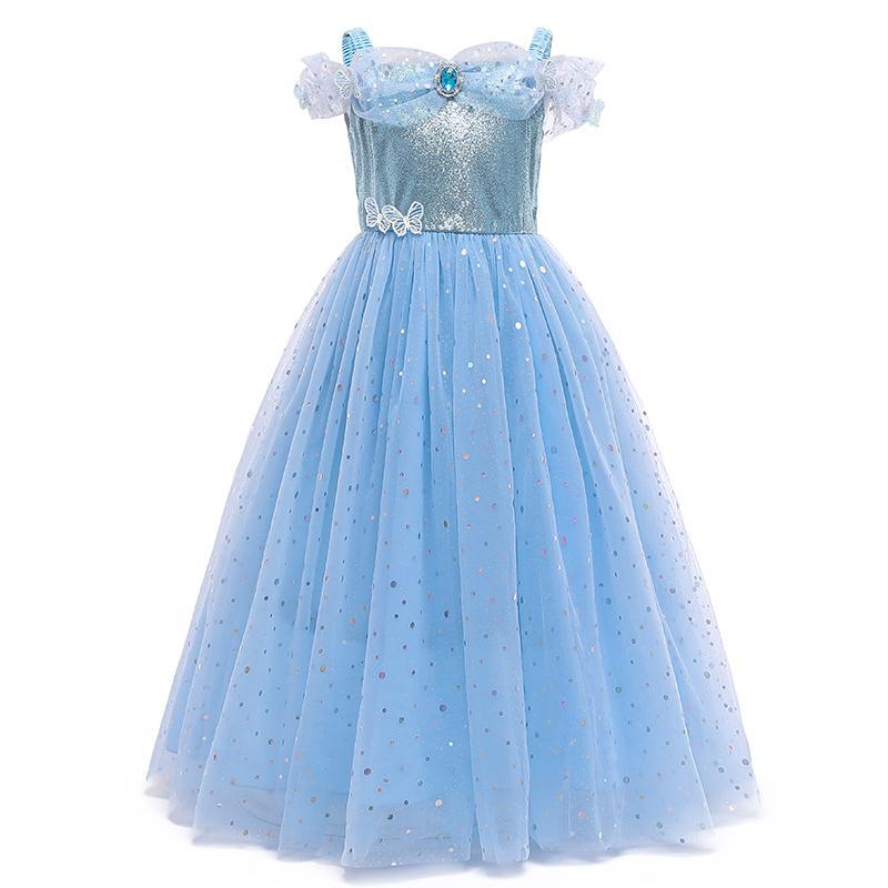 Девочка одеваются дети Prom Princess костюм для девочек Хэллоуин рождения вечеринка Cosplay Flocks Детские детские платье 0203
