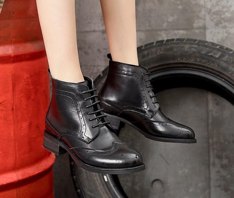 Errfc moda adiante outono inverno womens tornozelo botas lace up sexy senhoras sapatos de broge para mulher curta botas de couro tamanho 35-40