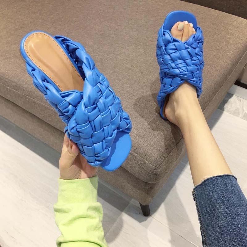 2021 yeni yaz örgülü düz sandalet giymek açık parmaklı kadın ayakkabı CDT8