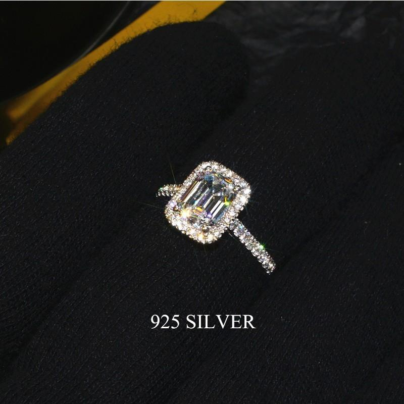 Handmade Emerald cut 2ct Lab Diamond Ring 925 sterling silver Engagement Wedding band Rings for Women Bridal Fine Party Jewelry J1208