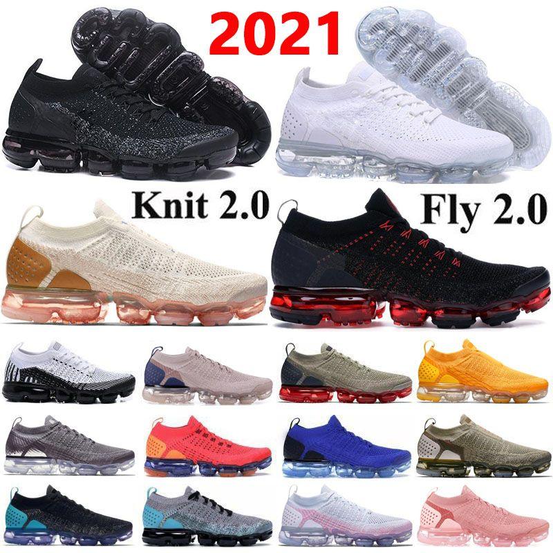 Vapormax Flyknit 2020 I vapori Knit 2.0 Volt Fly 1.0 Designer Mens Sneakers Trainers Safari CNY Red Orbit donna traspirante scarpe da corsa Maxes Size 36-45
