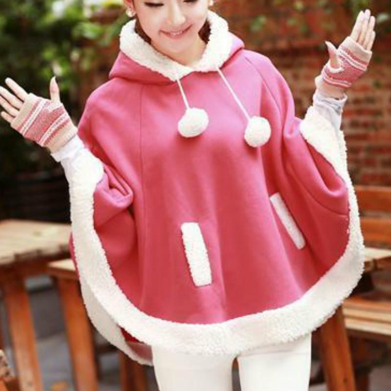Autumn/Winter Sweet Girly Style Lolita Hoodie Cape Coat Japanese Girl Preppy Style Kawaii Lightweight Hoodie Lolita Cosplay Cape