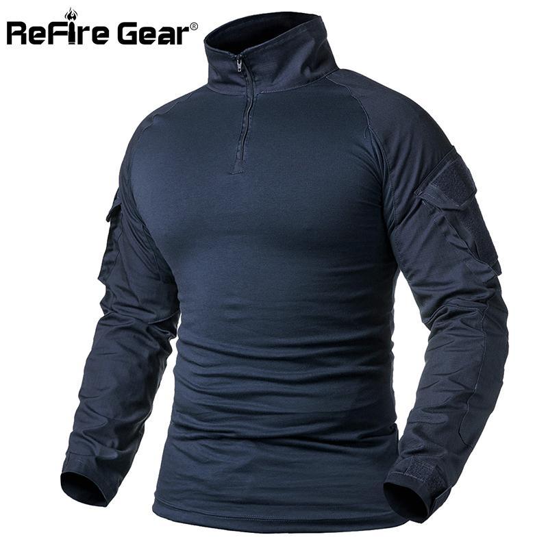 Refire Ejército engranaje de la camisa de combate T de los hombres de manga larga camiseta táctico sólido camisa de algodón militar Hombre Azul marino caza de Airsoft Camisetas 1116