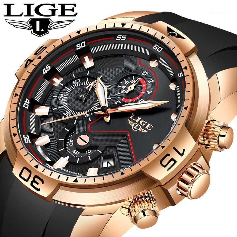 Relogio masculino lige mens relógios moda marca relógios homens sílica gel sport data cronógrafo quartzo relógio de quartzo presentes masculinos relógio1