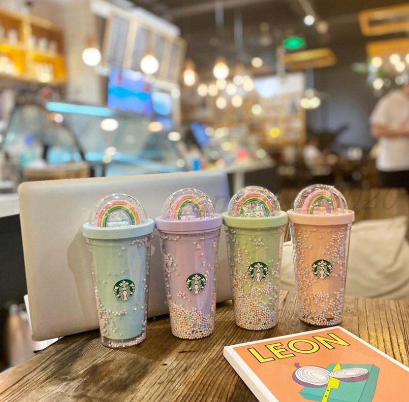 Die neuesten 16z-Starbucks-Starlight-Tasse Rainbow Cup erwachsener Mädchen Nette doppelte Trinkbecher mit strohfreiem Versand
