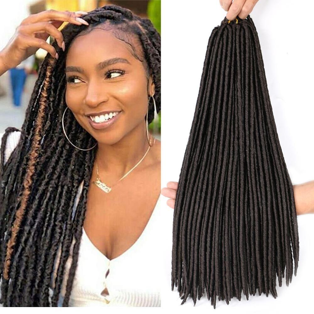 "Straight Faux Locs 크로 셰 뜨개질 머리 18 ""Dreadlocks Hair Extensions 24 Strands / PCS 소프트 Locs 크로 셰 뜨개질 브레이드 가짜 locs 끈"