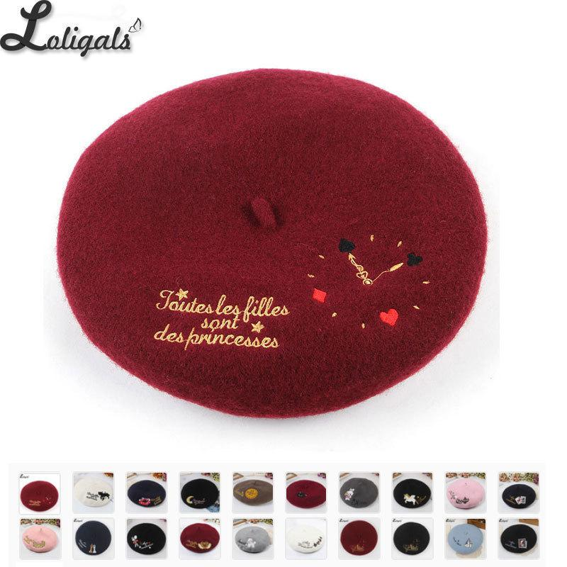 Sweet Women's Lolita Beret Wool Embroider Beret Hat Warm Winter Berets LJ200917