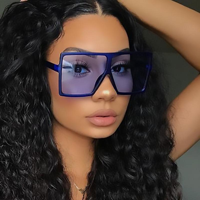 MINCL Oversized Flat 2020 Brand Designer Large Square Sun Big Sunglasses Female Eyewear For NX Women Shades Glasses Clear Top Mhwfl