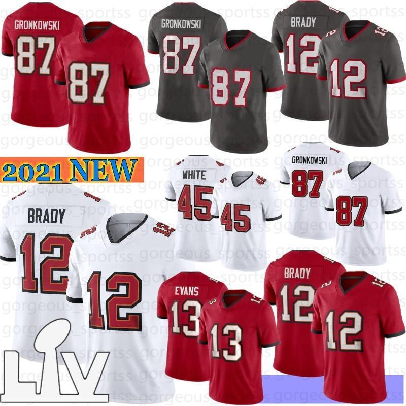 12 Tom Brady 87 Rob Gronkowski Homens Jerseys 2021 New Men Jerseys Chris Godwin Devin White Mike Evans Venda quente S-XXXL
