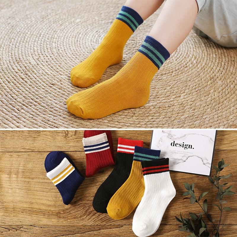 1 ADET Kış Yeni çocuk Çorap Pamuk Sıcak Tüp Çorap Erkek Ve Kızlar Çizgili Baskı Karikatür Bebek Çorap