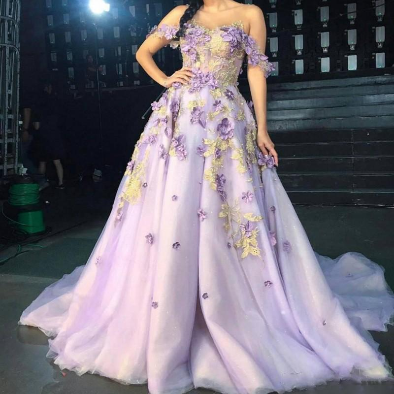 Sweety Off Shoulder Lavender 3D Flowers Prom Dresses Court Train Appliques Gold Lace Beads Spring Autumn Colorful Long Formal Evening Gowns