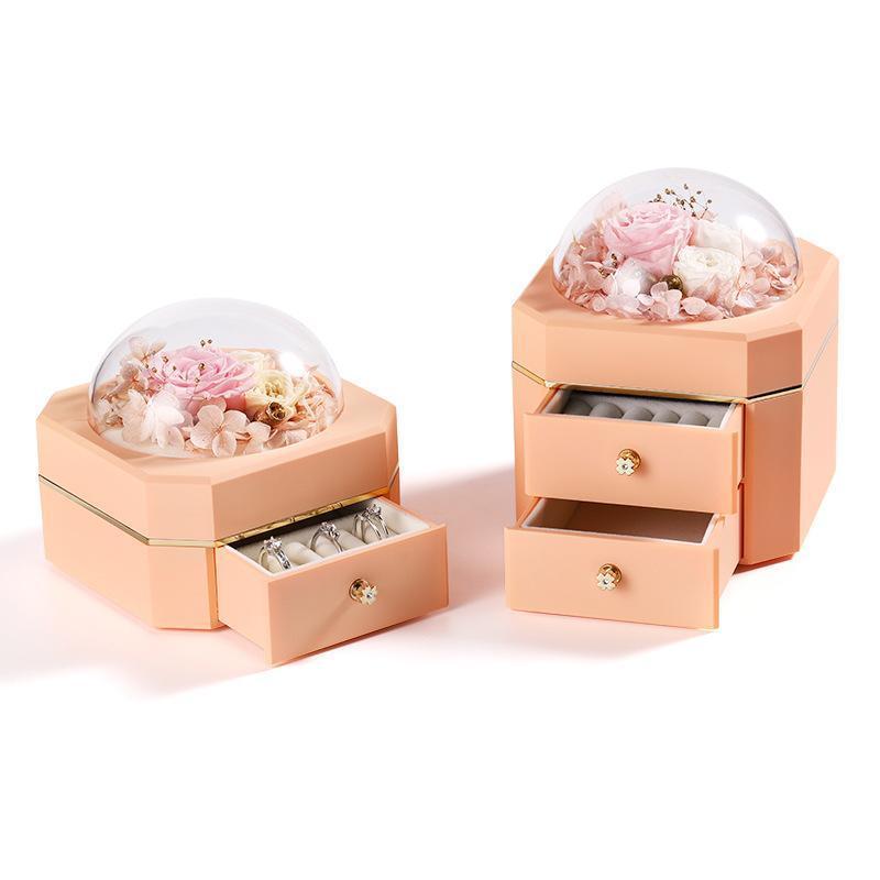 Подарочная обертка вечная роза в прозрачном шарике свадебные украшенные изделия коробка консервированные цветы кольцевые чехол для упаковки девушки рождества