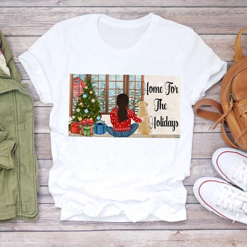Women Christmas Cartoon Sweet Girl 90s Clothing Holiday Print Lady T shirts Top Tshirt Ladies Graphic Female Tee T Shirt