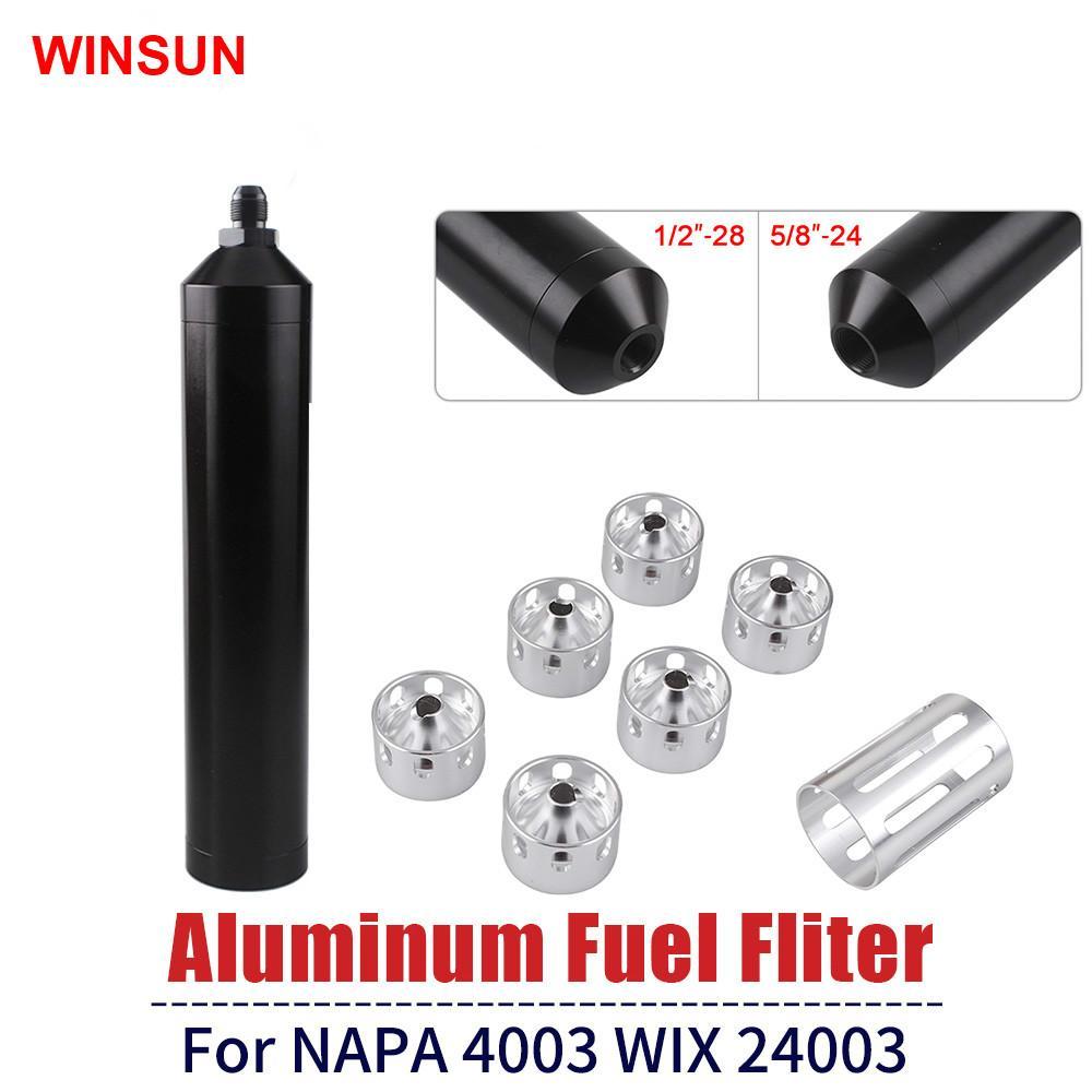 """فلتر الوقود المذيبات مصيدة 8.46 بوصة OD 1.73 """"5 / 8x24 أو 1 / 2x 28 الألومنيوم ل NAPA 4003 WIX 24003 السيارات المذيبات فخ ثقوب OFI050"""