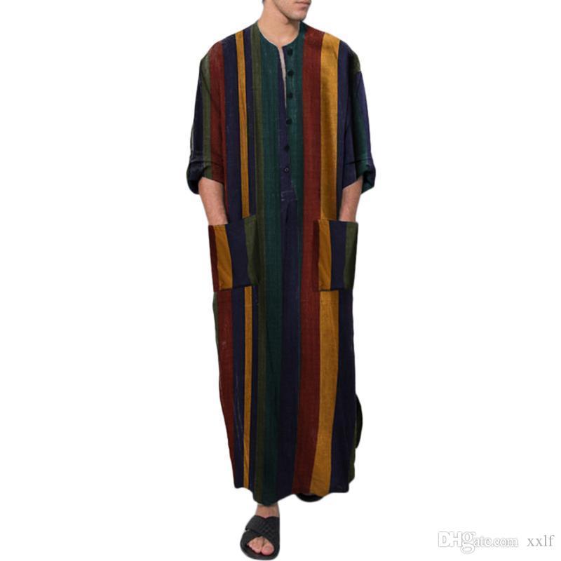 Muslimischer Muslim-islamischer Kaftan-Arabischer Vintage-Muslim-Langarm-Männer-Robe Lose Dubai-Kaftan-männliche Kleidung Übergröße S-4XL