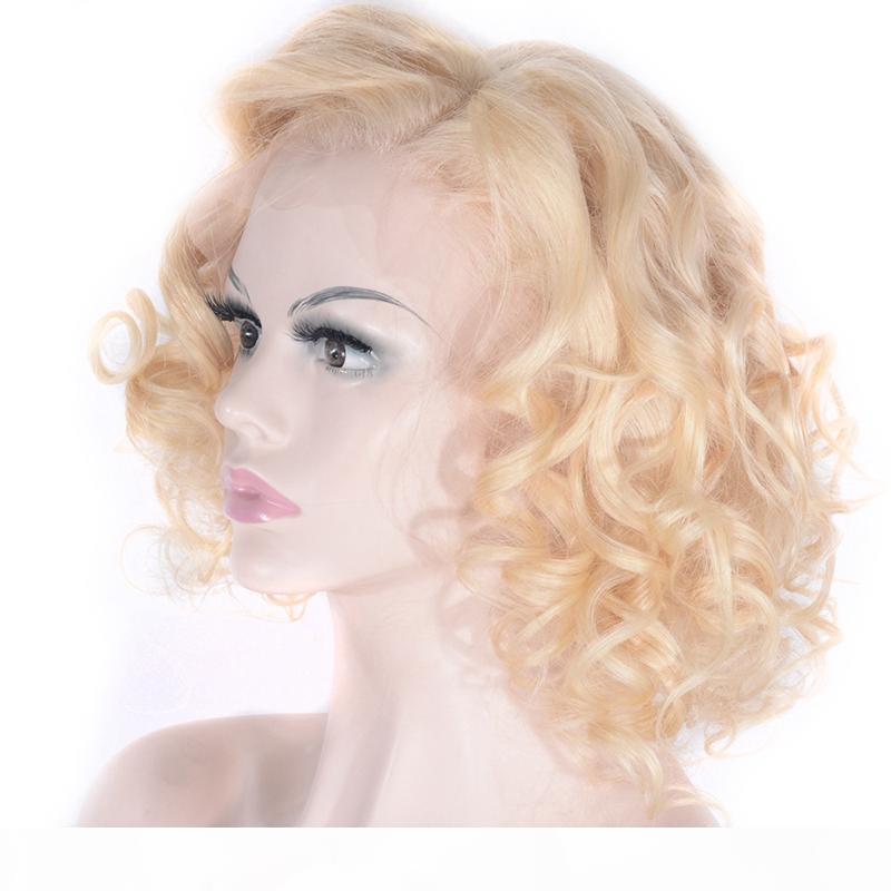 ZhiFan 14Inch Blonde Front Lace Wig Human Hair Short Bob Curly Loose Wave Style Wigs For Women