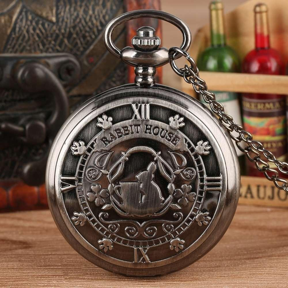 Retrô Cinza Alice no País das Maravilhas Tema Coelho Casa Exibição De Quartzo Bolso Vintage Colar Pingente Relógio Cadeia de Presentes Horas