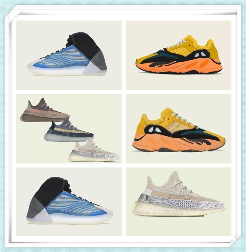 Zapatillas deportivas para mujer para hombre 2021 Kanye West Sun Yecoraite Ash-Stone Ash-Blue Clay Reflective Casual Sneakers Pavo Real Blue Shoe Tamaño 36-48