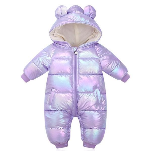 New Plus Velvet Jumpsuits Baby Winter Rompers Cartoon Hooded Shiny Waterproof Newborn Girls Snowsuit Toddler Boys Coat clothes Q1123