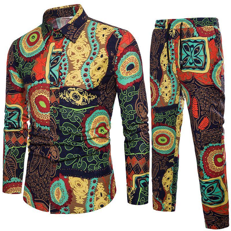 Traje de ocio de lino y algodón para hombres Nueva Llegada Personalidad Hombres establece ropa casual más tamaño