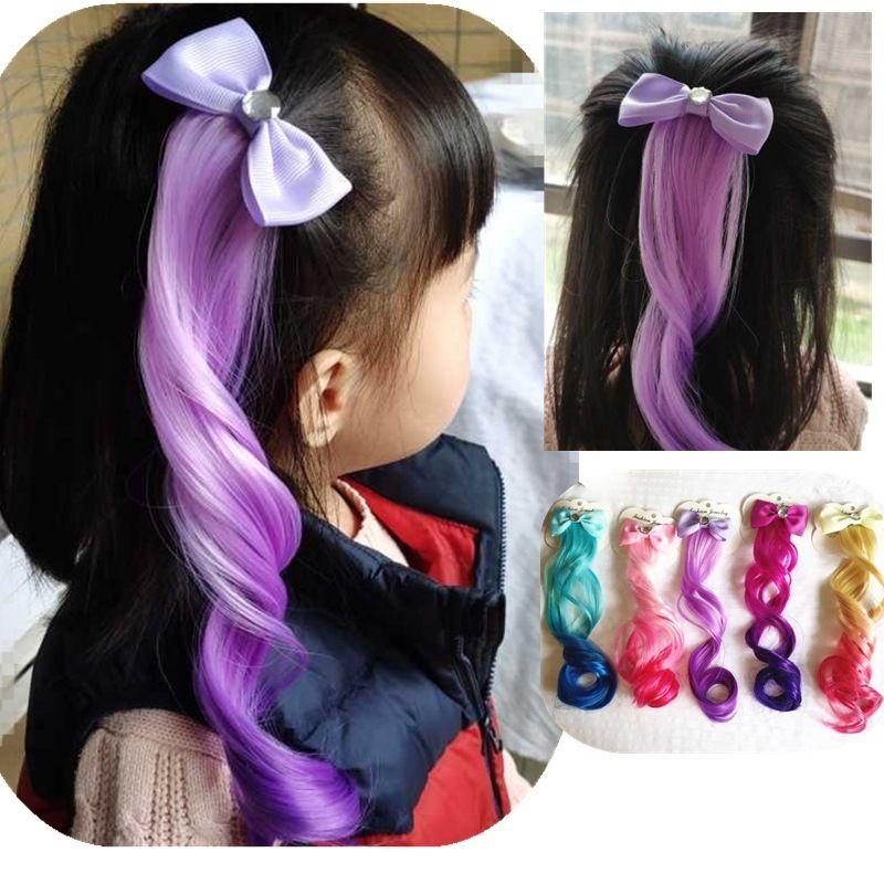 Прекрасные дети лук парики цвета кудрявые волосы волосы для волос девочки дети Выполнить принцессу Градиенты для волос Аксессуары для волос Barnettes Мода Горячие продажи 2 8HY M2