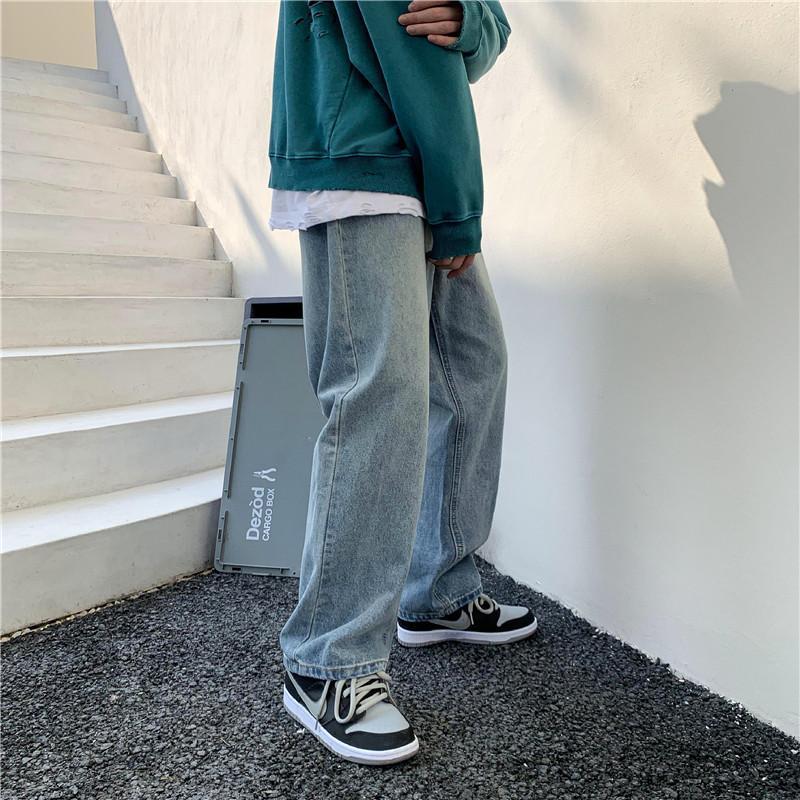 Мужские джинсы вымытые мужские мешковатые брюки 2021 Мода Корейский Широкий Джинсовые Джинсовые Брюки Улица Высокая Талия Хараджуку Панталон Homme