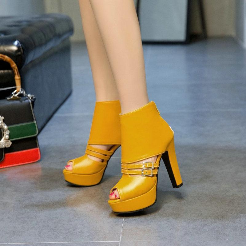 Top Mujer Gladiador Tacones de otoño Botas de otoño Verano Peep Toe Plataforma Bombas Zapatos de hebilla alta Tamaño 35-50