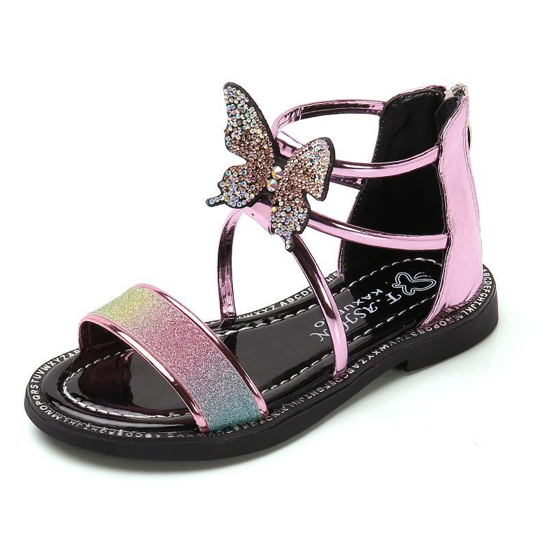 Summer Kids Sandals Fashion Rhinestone Butterfly Girls Roman Sandals Children Girls Princess Shoes Flat Beach Sandals SSJJ088 J1211