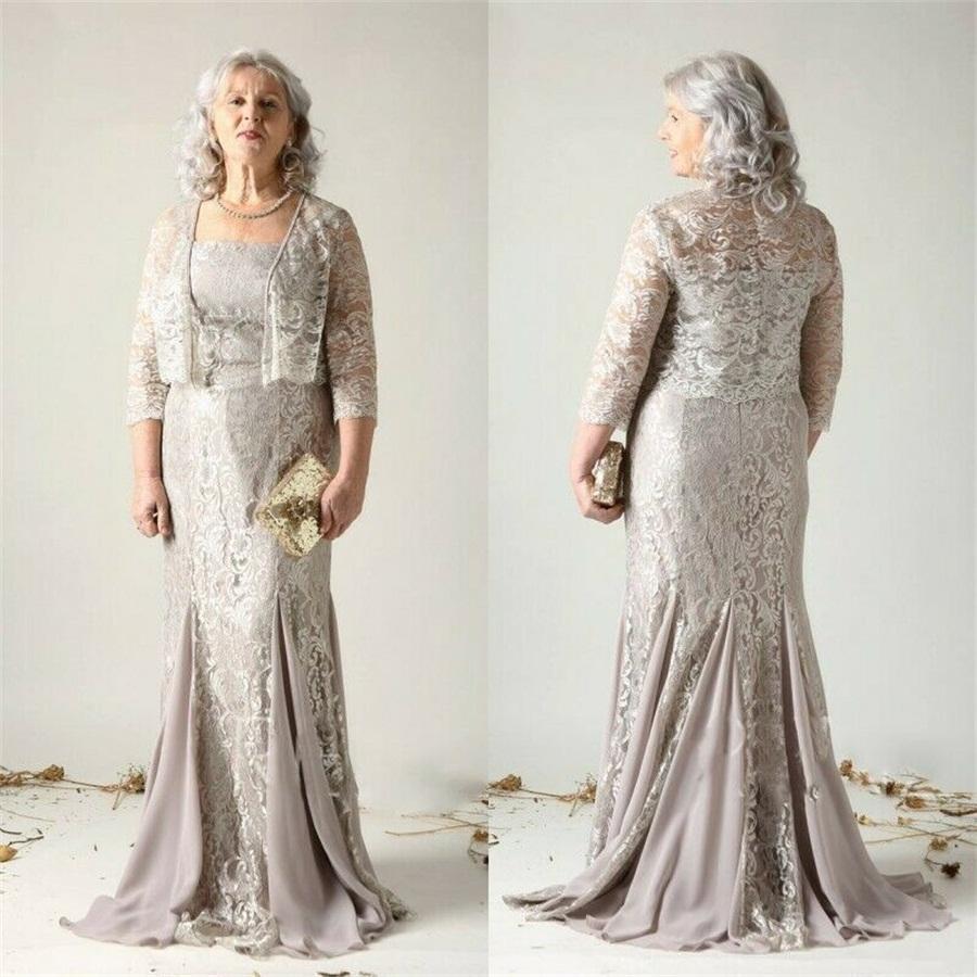 Elegante Plus Size Mãe da Noiva Vestidos Com Casaco Lace Appliqued Vestidos De Noite Spaghetti Strap Sweep Train Train Wedding Guest Dress Vestidos