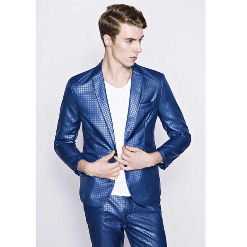 Erkekler Moda Blazer damat düğün elbise erkek evlilik takım elbise damat smokin Casual Slim Fit takım elbise ceket tek düğme mavi erkek takım elbise