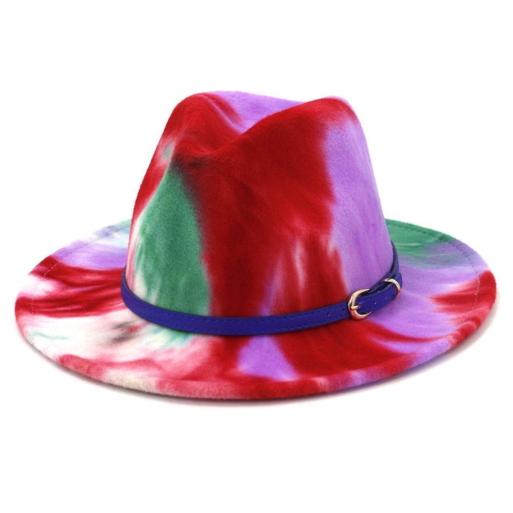 الاتجاه التعادل صبغ مطبوعة لون فيدورا قبعة للنساء سيدة فتاة الرجال صبي للجنسين اللباس حزب شعر جاز كاب الأزرق حزام docor