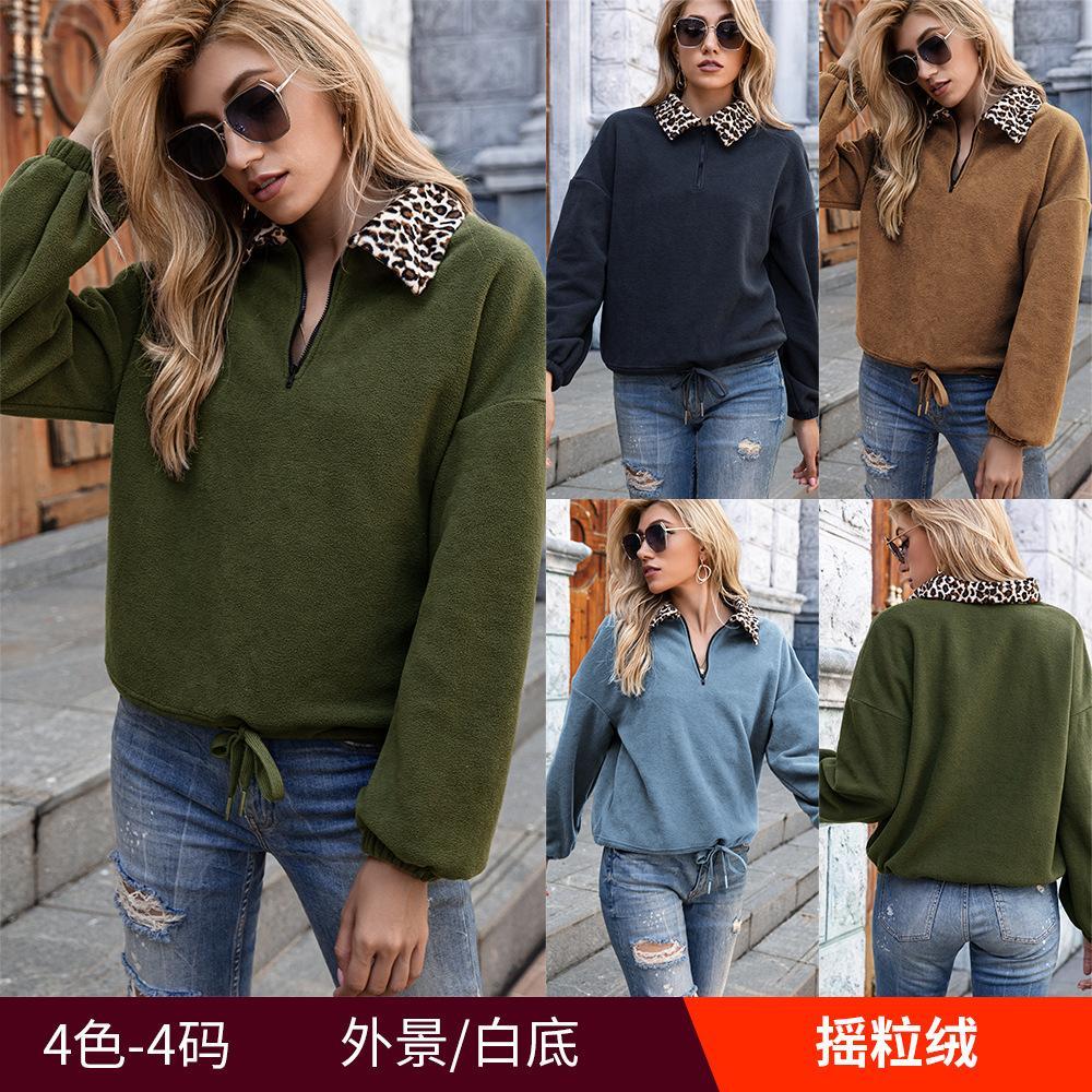 4colour S-XL 여성의 새로운 섹시한 세련된 캐주얼 레오파드 프린트 옷깃 양털 양털 풀오버 풀오버 스웨터 탑 코트 37625775356524